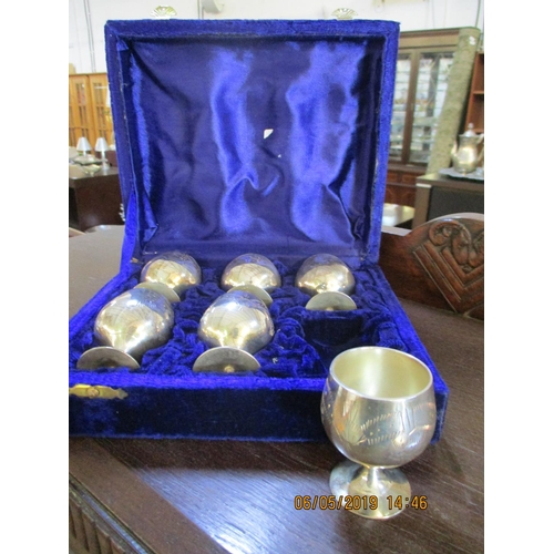42 - Set of 6 x Mini Silver Plated Goblets in Display Case...