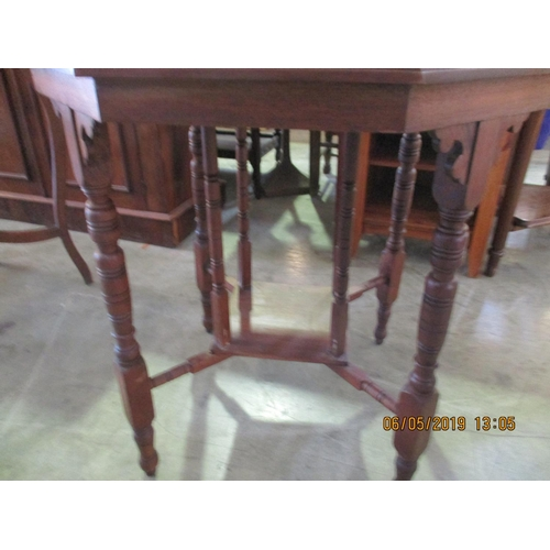 59 - Vintage Wooden Carved Leg Octagonal Occasional Table...