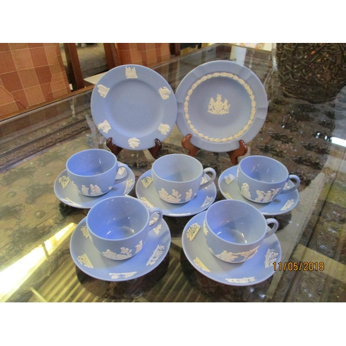 11 - Set of 5 x Wedgwood Blue Cup and Saucer and 2 x matching Wedgwood Sweets , Small Plates...