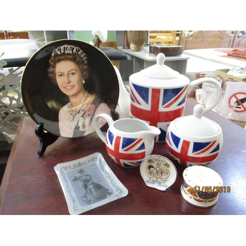 29 - England Tea Set Including Pot , Sugar Bowl, Milk Jar together with Royal Souvenirs...