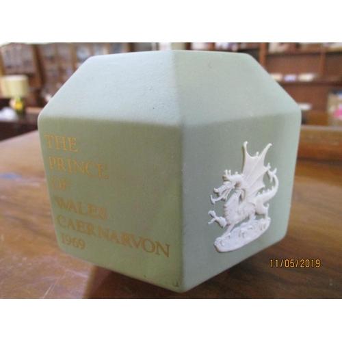 31 - Green Wedgwood Money Box...