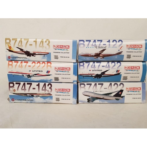 11 - Set of 6 x B747-143 Dragon Wings Premiere Collection Die Cast 1:400 in Boxes with Different Liveries...
