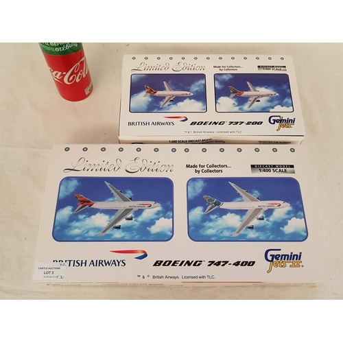 3 - Set of 2 x Limited Edition British Airways Gemini Jets Die Cast 1:400 Scale Model, one of the Boeing...