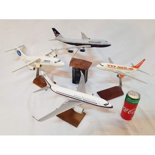 30 - 4 x Plastic Scale Model Airplanes on Metal and Wooden Stands: Boeing Business Jet 737-700 BBJ, Easy ...