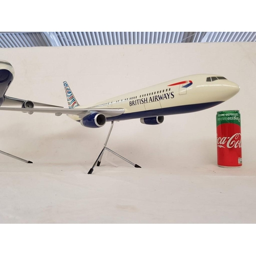 45 - Set of 2 x Large British Airways Space Models Aircafts one of them a Boeing 757-236, both with Stand...