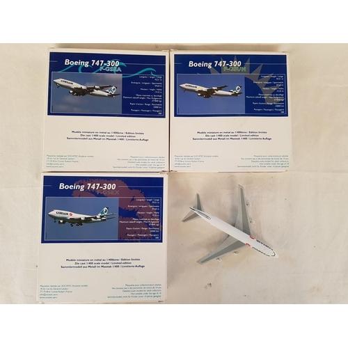 54 - Set of 3 x Corsair Die Cast 1:400 Scale Model Boeing 747-300 (3)...