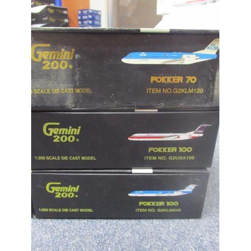 33 - Series of Gemini 200 Die Cast 1:200 Model Scale inc Fokker 70 7 2 x Fokker 100 in various Liveries i...