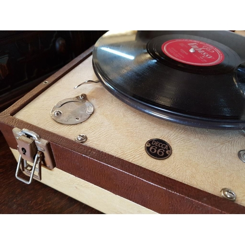 1 - Vintage Decca 66 Portable Gramophone, Manual Wind, Together with a Few Records...