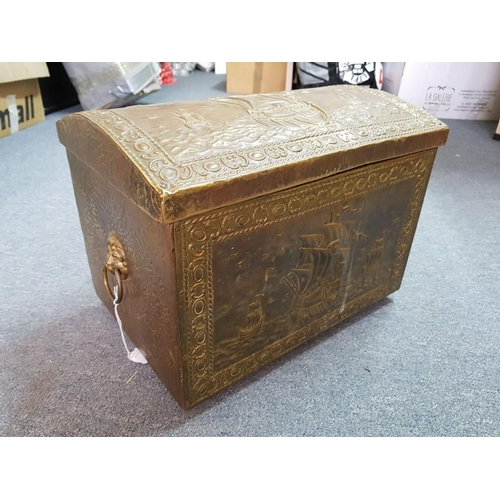 10 - Vintage Coal Box, Brass Clad with Arched Top, Lion Handles and Ship Design...