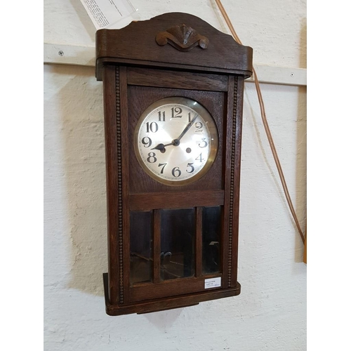 12 - Vintage Wooden Cased Wall Clock, Movement Replaced with Quartz, un-tested)....