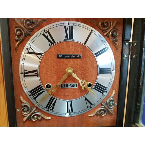 15 - President 31-Day Wall Clock in Wooden Case...