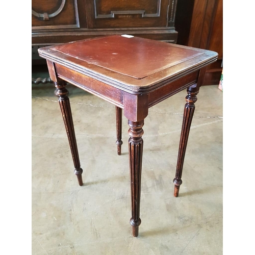 16 - Vintage Wooden Side Table with Inlaid Leather Top, by 'M&T Ltd, London'....