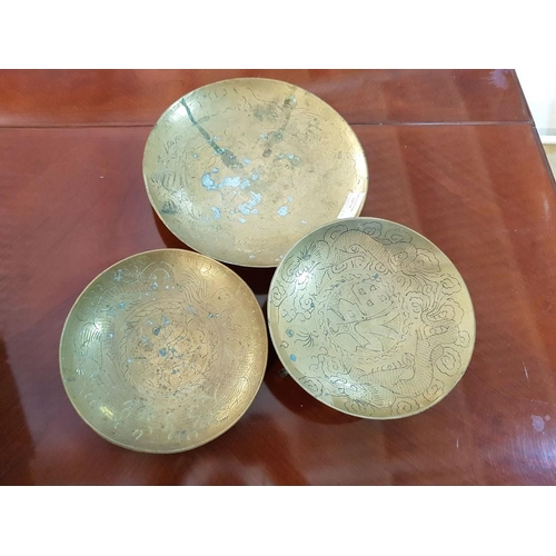 17 - 3 x Round Copper Bowls and a Wooden Oriental Style Stand (4)...
