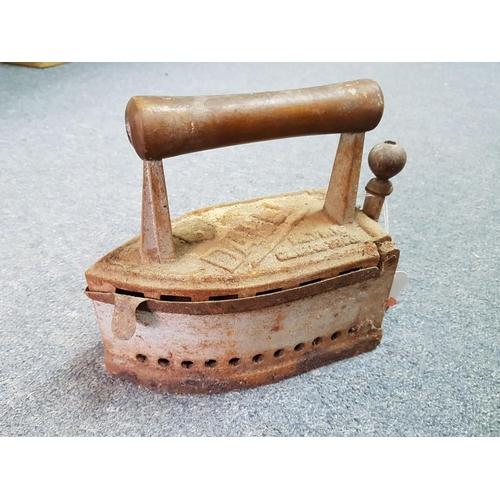 21 - Antique Cast Iron Coal Iron...