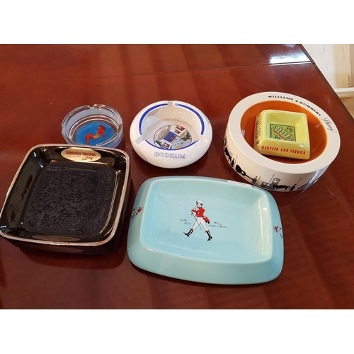 22 - Collection of 6 x Vintage Collectable Ashtrays, Incl. Johnnie Walker...