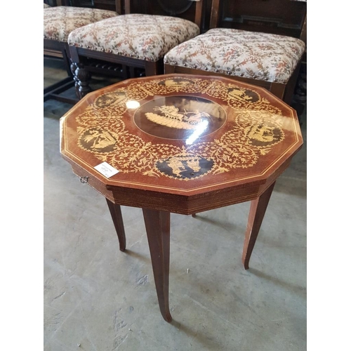 27 - Shaped Side Table with Musical Lift Up Top, Storage and Greek Chariot Decorated Top...