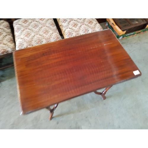 28 - Rectangular Wooden Side Table with Turned Legs on Casters and Galleried Lower Shelf...