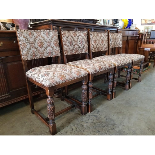 29 - Set of 4 x Vintage Oak Dining Chairs with Carved Pineapple Legs and Studded Fabric Seat & Back (4)...