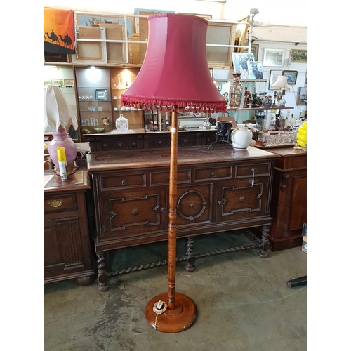 34 - Antique Solid Wood Standard Lamp with Turned Upstand, Round Base and Painted Shade with Tassels...