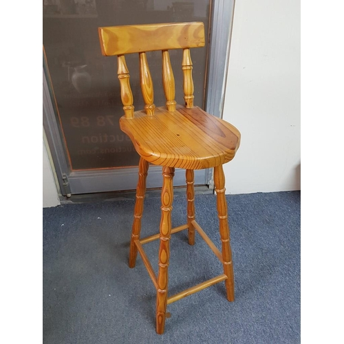 40 - Pine Stool with Back Rest...