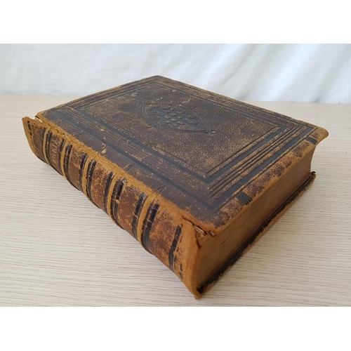 2 - Antique Leather Bound Holy Bible, Old & New Testament with Photographic Illustrations...
