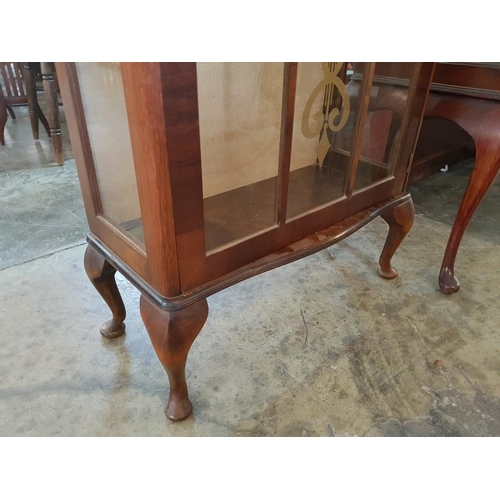 37 - Vintage Walnut Display Cabinet with Decorated Glazed Door, 2 x Glass Shelves, Key...