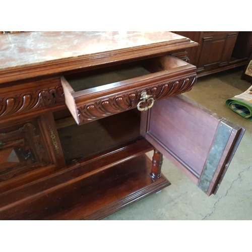 38 - Antique French Walnut Buffet / Sideboard with Inset Marble Top, Carved Front and 2 Drawers over Cupb...