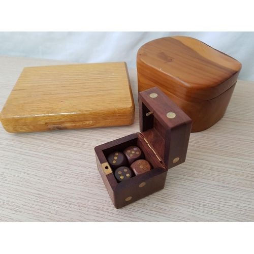 41 - Playing Cards in Wooden Case, Together with 4 x Dice in Wooden 'Dice' Box and Handmade Yew Wood Lidd...