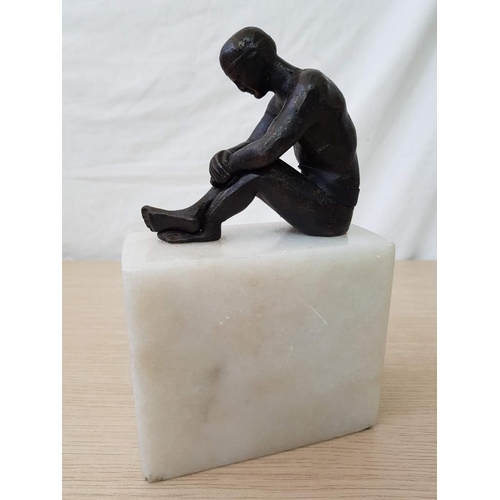 42 - Bronze Seated Nude Figure on Marble Base...
