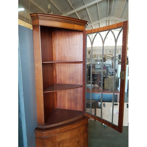 49 - Dark Wood Corner Display Cabinet with Multipaned Glazed Door and 2 Wood Shelves over Cupboard...