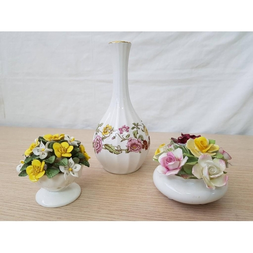53 - 2 x Fine China Flower Posey's (Royal Doulton & Hadleigh) Together with Spode Vase (3)...