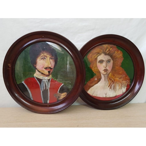 54 - Pair of Round Oil on Canvas Paintings in Wood Frame; Victorian Gentleman and Lady (2)...