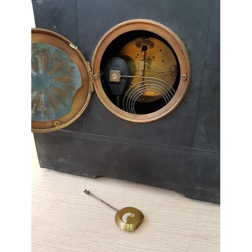 58 - Decorative Victorian Black Marble Mantel Clock with 'H.A.C (Hamburg American Clock Company) Key Woun...