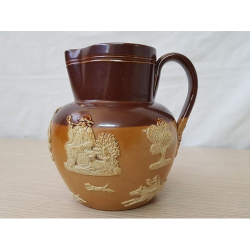 59 - Royal Doulton Stone Ware Jug, Pattern Code: RD 2892, Brown and Tan Body, Embossed with People & Anim...
