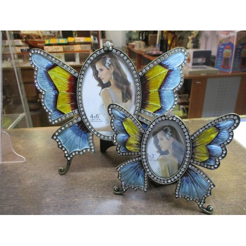 4 - 2 x Colourful Butterfly Modern Decorative Photo Frames (10x15cm, 5x7,5cm)...