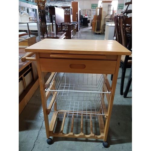 15 - Kitchen Island with Wooden Top, Small Drawer, 2 - Shelfs / Basket and Wine Shelf / Rack (60cm x 40cm...