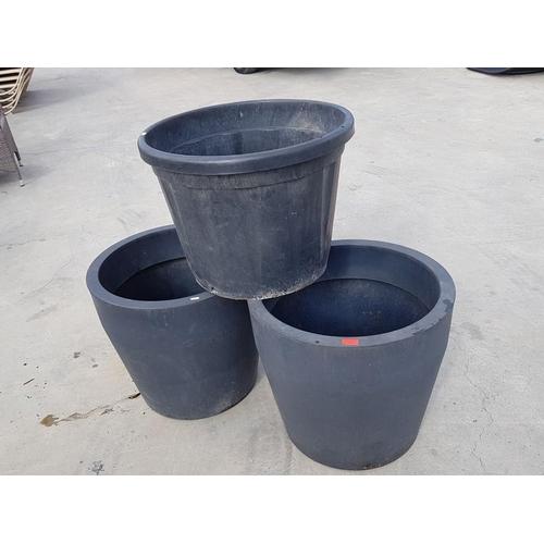 13 - 3 x Large Grey Plant Pots (2 x Ø 58cm x H:53cm and Other Ø58.5cm x H:45cm)...