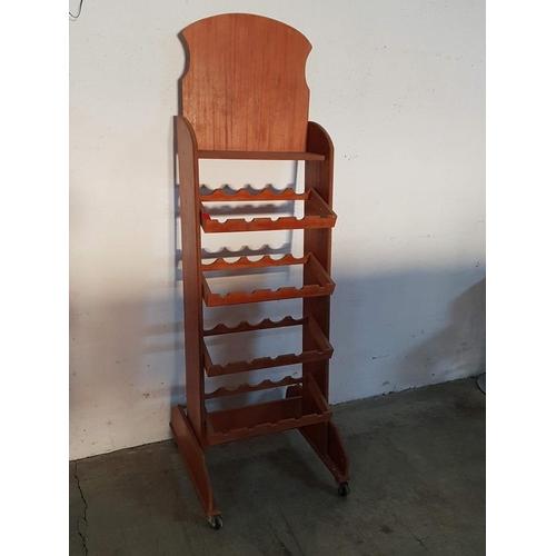 29 - Wooden Wine 4 - Shelf Rack for 20 x Bottled on Wheel (165cm x 27cm x 50cm)...