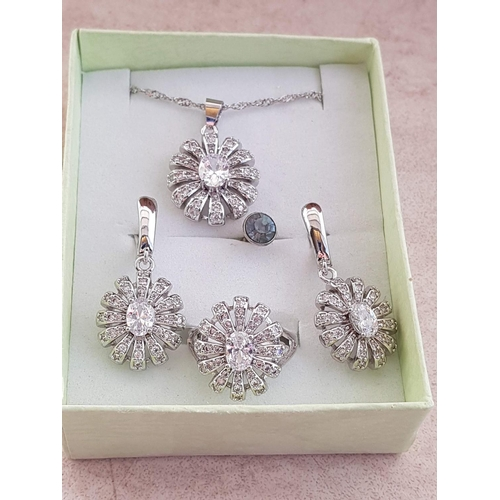 14 - Christmas Gift Set; Silver Chain with Pendant and Pair of Earrings and Matching Ring, Size 8 - P/Q) ...