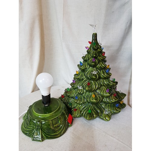 6 - Ceramic Christmas Tree with Lights, Approx 45cm...