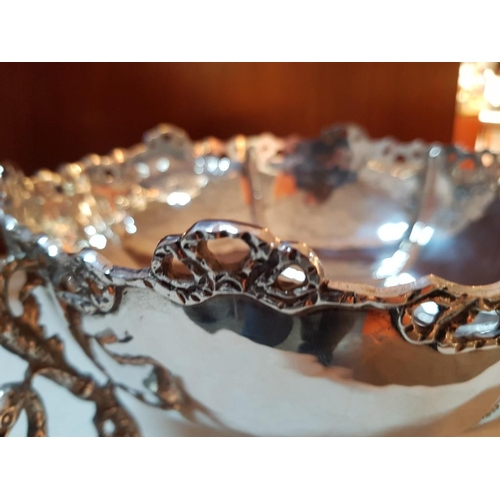 45 - Solid Silver (.830) Ornamental Fruit Bowl (Approx. 25cm Ø, 1040g) with 3 x Swan Legs...