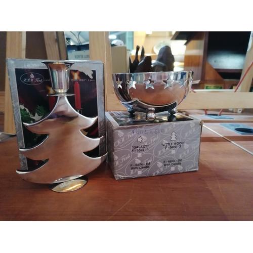 44 - Xmas Bowl (Ø12cm) & Xmas Tree Candle Holder (White Metal)...