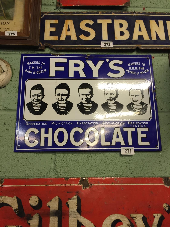 Unusual Frys Chocolate Five Boys Enamel Sign