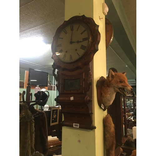 1002 - C19th. Inlaid walnut triple scrolled wall clock....