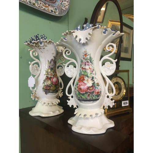 1012 - Pair of C19th. Ceramic  vases with roses and foliage...