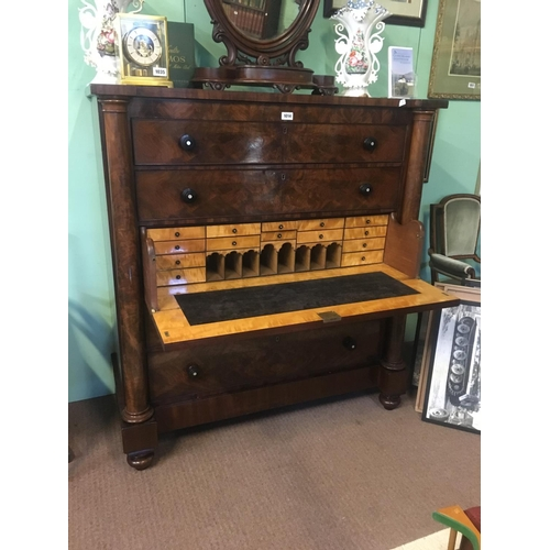 1014 - William IV mahogany secretaire chest with two long drawers above the secretaire and two long drawers...