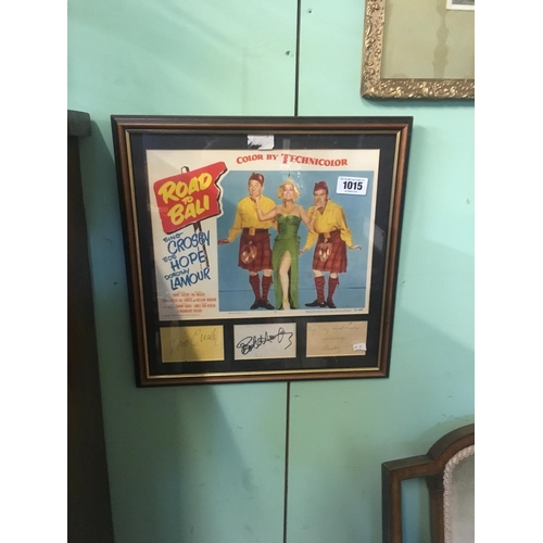 1015 - Framed ROAD TO BALI film poster signed by Bing Crosy and Bob Hope....