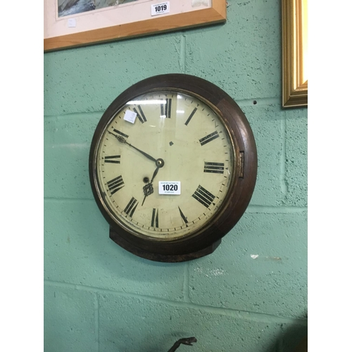 1020 - C19th. Spring driven wall clock....