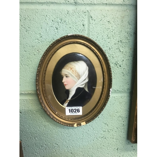 1026 - C18th. Portrait of a young Lady painted on a porcelain plaque....