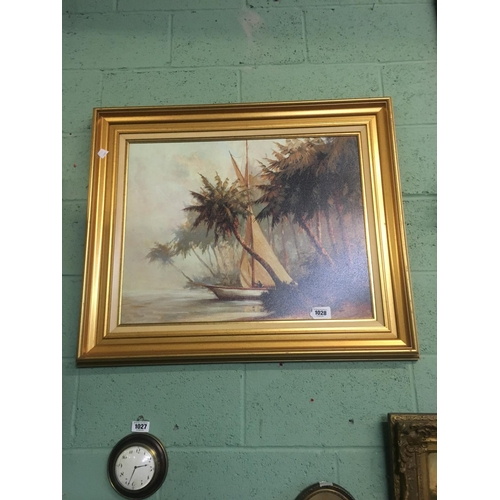 1028 - Framed oil on board. MEDITERREAN SCENE....